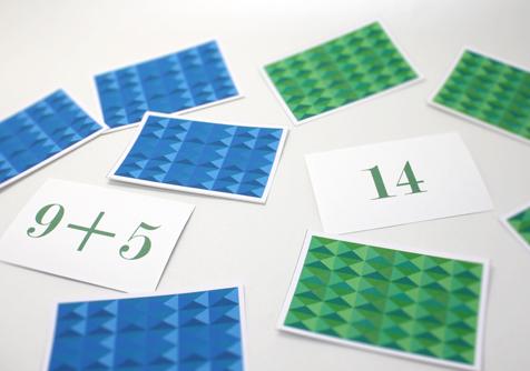 1桁の足し算マッチングカード