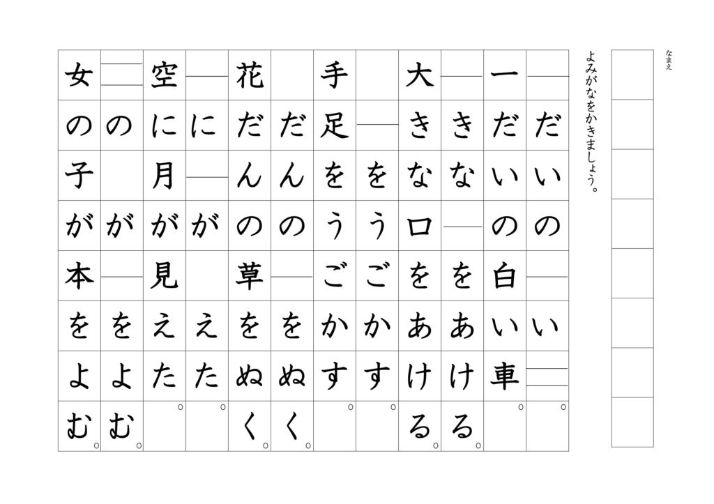 漢字よみがなプリント1年01