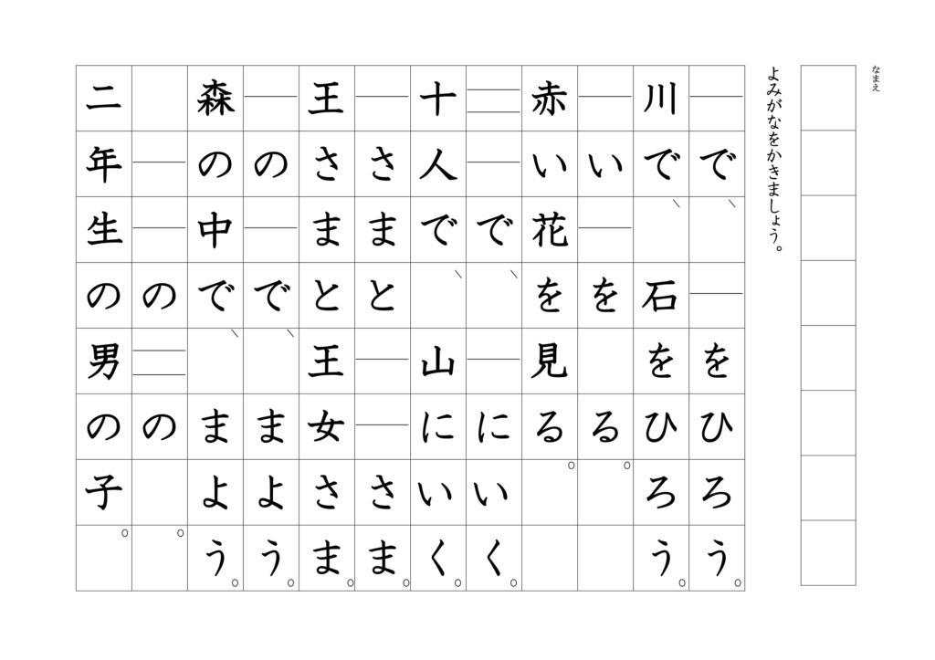 漢字よみがなプリント1年02