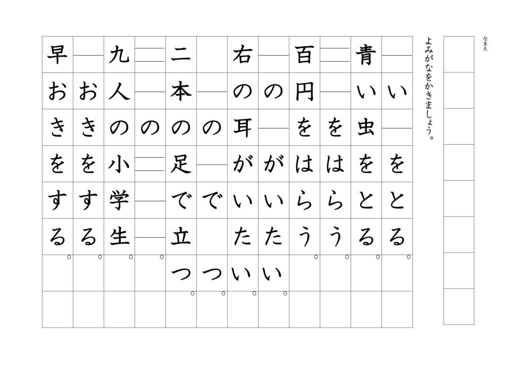 漢字よみがなプリント1年03