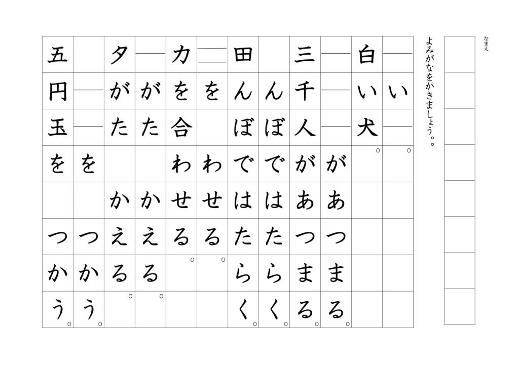漢字よみがなプリント1年07