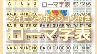 タイピングポジション付きローマ字表